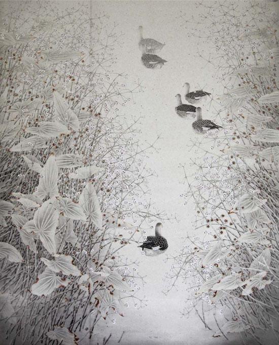 一池秋水闹禽声 180x220cm