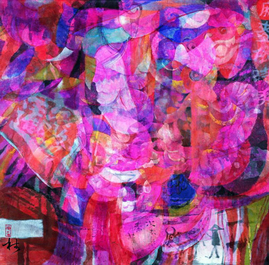 穆益林《元宵印象NO.13 春望》帛画 66×66.5cm 2012年