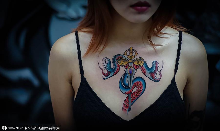 广西最好看的女孩纹身花纹图
