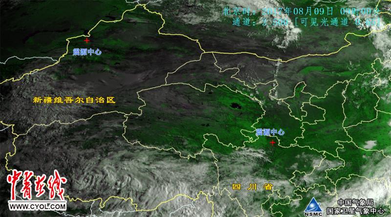 、新疆震区气象卫星云图.8月9日9时.中国气象局供图.-气象卫星图片