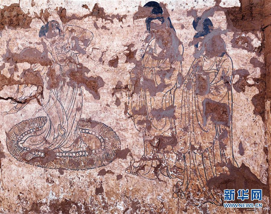 (图文互动)(1)陕西发现现存最早唐墓山水屏风壁画