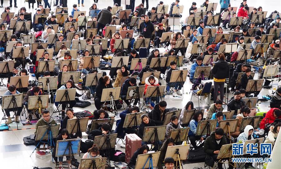 #(教育)(3)山东济南:艺考开考 考生同场竞技