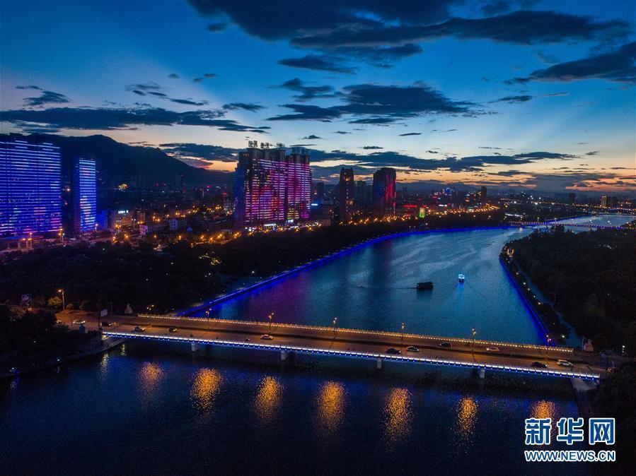 (美丽中国)(3)浙江东阳:扮靓城市夜景 打造城市新景观