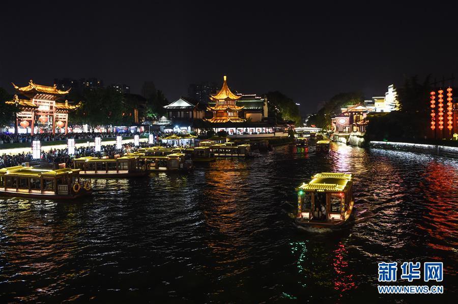 (社会)(1)江苏南京:夜游夫子庙