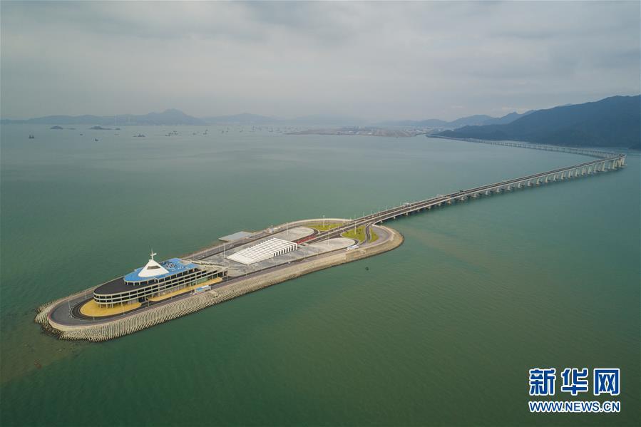 航拍港珠澳大桥香港段