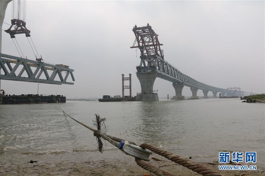 (国际)(1)孟加拉国帕德玛大桥项目第七跨钢梁架设完成