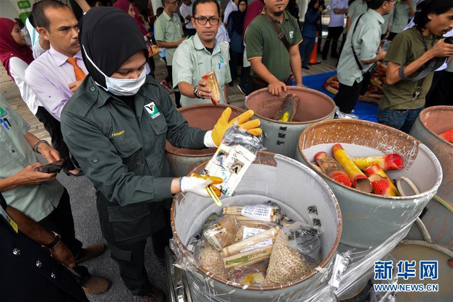 (国际)(1)马来西亚销毁近四吨走私象牙