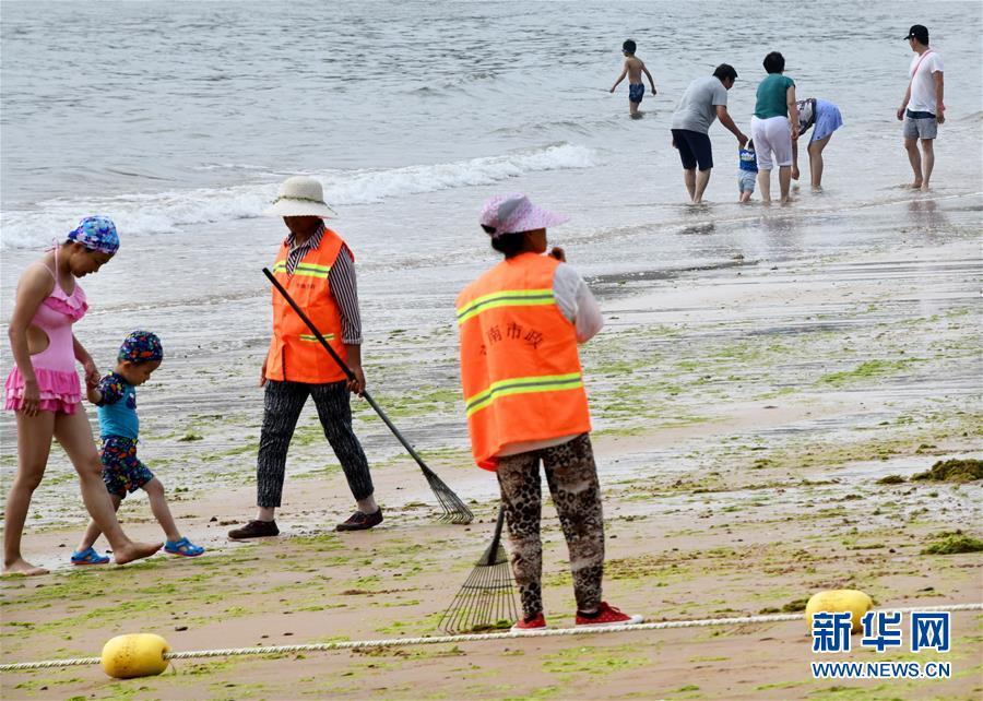 (社会)(2)青岛:清理海滩迎客来
