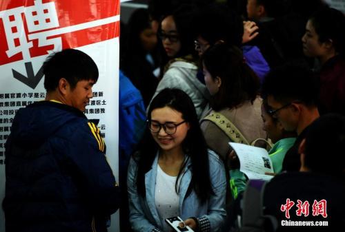 资料图:3月10日,昆明一处招聘会现场。<a target='_blank' href='http://www.chinanews.com/' _fcksavedurl='http://www.chinanews.com/'></table><p align=