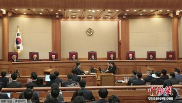 资料图:韩国宪法法院审理总统弹劾案。