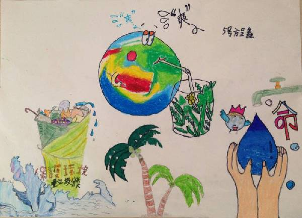地球小卫士简笔画