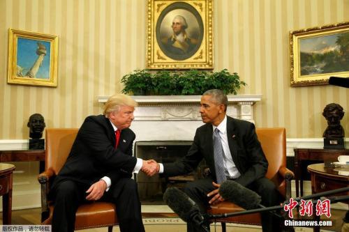 资料图:2016年11月10日,美国总统奥巴马与新当选总统特朗普在白宫进行了长达一个半小时的会面。