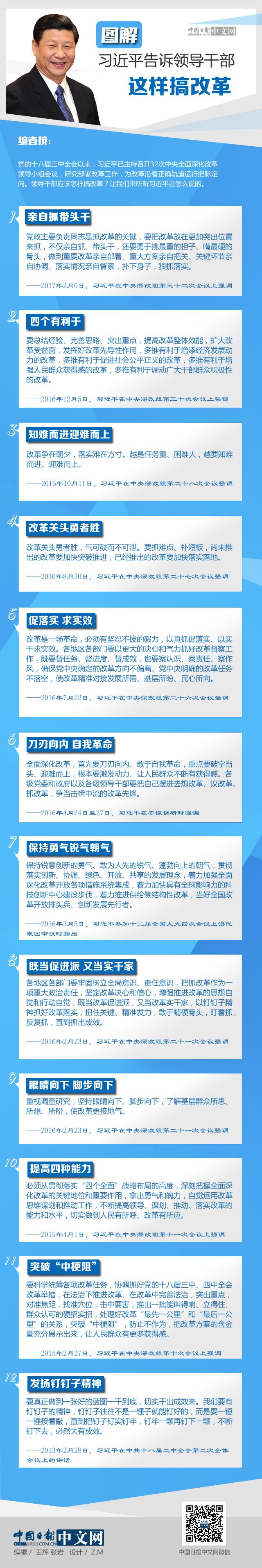图解:习近平告诉领导干部这样搞改革