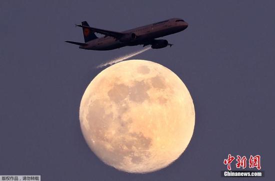 当地时间4月9日,在德国法兰克福,德国汉莎航空公司的一架客机从月亮前飞过。