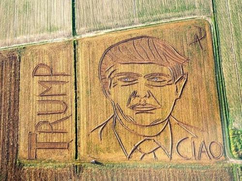 """艺术家用拖拉机""""画""""巨幅普京像 还有奥巴马(图)"""