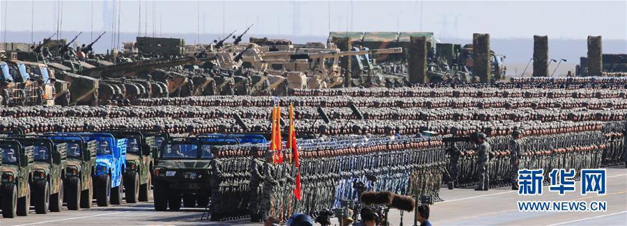 7月30日,庆祝中国人民解放军建军90周年阅兵在位于内蒙古的朱日和训练基地举行。中共中央总书记、国家主席、中央军委主席习近平检阅部队并发表重要讲话。这是受阅部队。新华社记者 查春明 摄