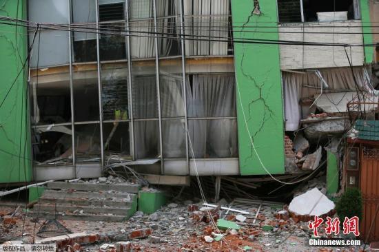 距离墨西哥城不远的Narvarte,当地建筑在地震中遭遇严重损毁。这是墨西哥两周来发生的第二次强烈地震。