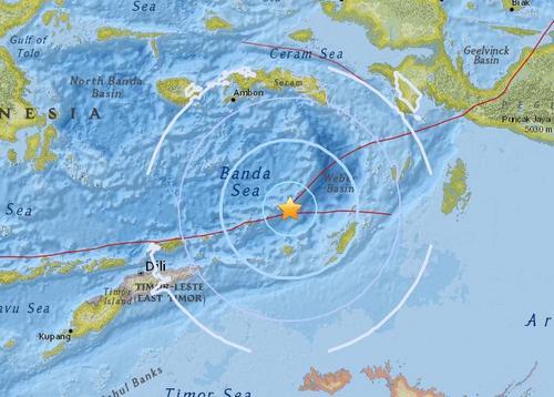 印尼东南部海域发生5.5级地震震源深度160.3公里