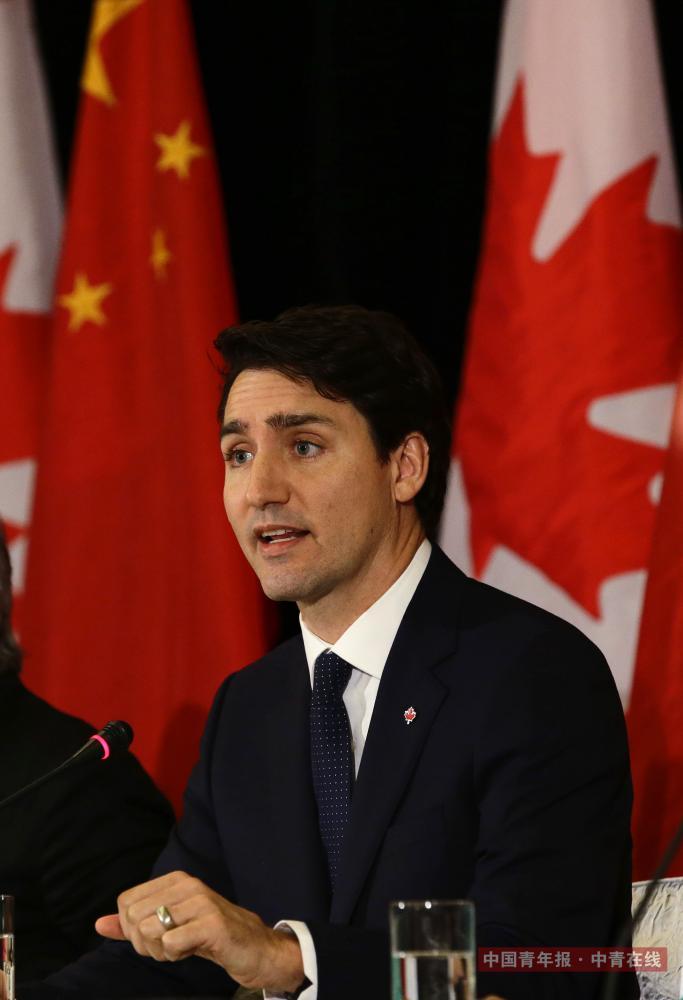12月5日,加拿大总理特鲁多参加中加企业家商业圆桌会议。中国青年报·中青在线记者 陈剑/摄