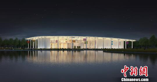 图为国际馆水岸夜景透视图。北京世园局供图