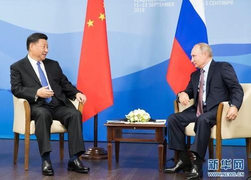 9月11日,国家主席习近平在符拉迪沃斯托克同俄罗斯总统普京举行会谈。 新华社记者 黄敬文 摄