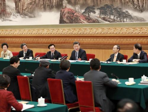 2019年3月8日,习近平参加十三届全国人大二次会议河南代表团的审议。