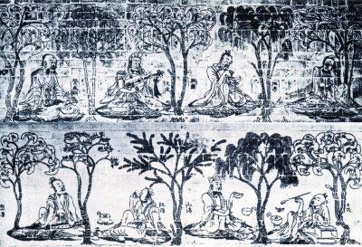 """""""竹林七贤与荣启期""""模印砖画 南京博物院藏"""