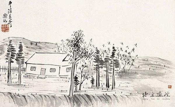齐白石 借山图卷(共二十二开) 之一创作年代:1910规格:30×48
