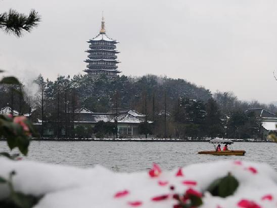 (环境)(2)杭州西湖:残雪依稀寒意浓